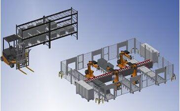详细的叉车机械手自动化生产流水线三维图